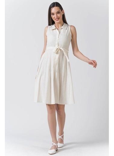 Reyon Gömlek Yaka Sıfır Kol Keten Elbise Krem Krem